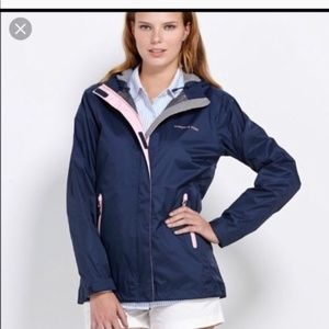 Vineyard Vines Navy Hooded Waterproof Rain Jacket
